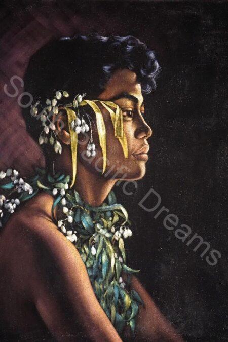 Ralph Burke Tyree, Samoan lad, oil on velvet, 1978